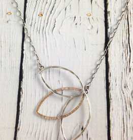 Handmade Open sterling and 14kt goldfill leaf fan shape necklace on chain