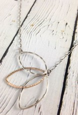 Handmade Open Sterling and 14kt Gold Fill Leaf Fan Shape Necklace on Chain