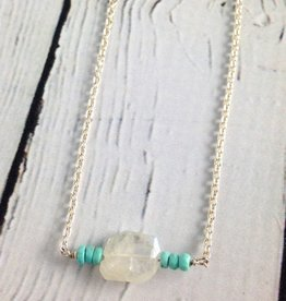 Handmade Sterling Silver Necklace with rainbow moonstone nugget, 6 sleeping beauty turquoise center