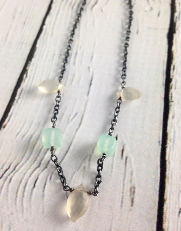 Handmade Sterling Silver Necklace with 3 marquis moonstone, 2 chalcedony cubes, oxidized chain