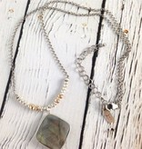 """Handmade Faceted cushion cut labradorite pendant on 21"""" sterling bead and chain necklace"""