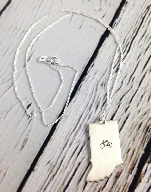 Handstamped Bike Indiana Necklace