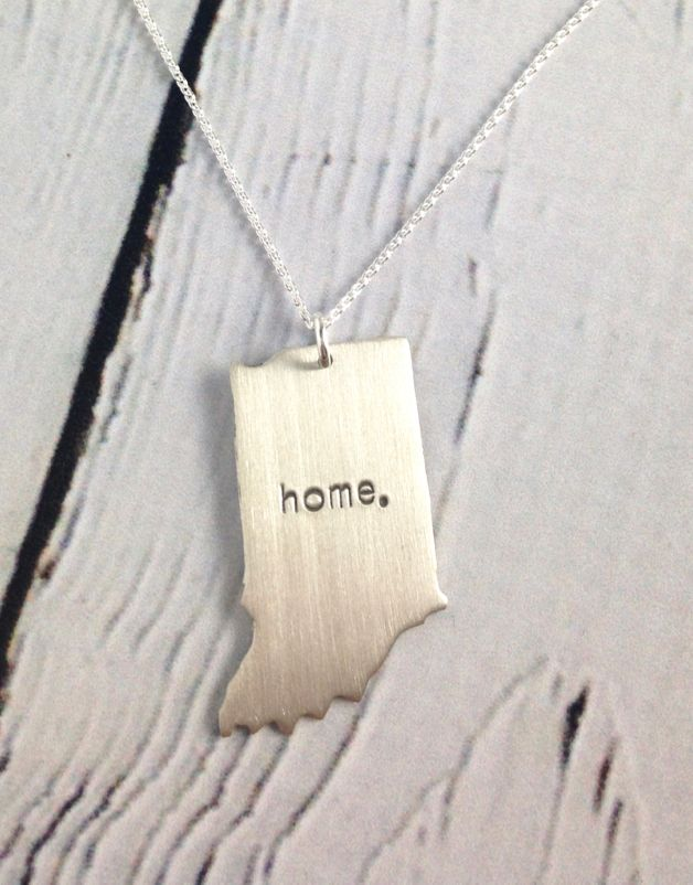 Handstamped Home Indiana Necklace