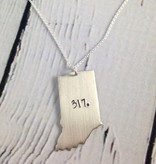 Handstamped 317 Indiana Necklace