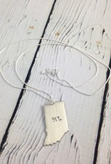 Handstamped 317 Indiana Necklace