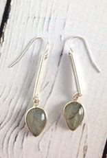 Handmade Labradorite teardrop in sterling bezel and drop earrings