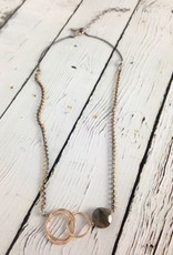 """Handmade Hammered 14kt goldfill interlocking circles with 12mm faceted labradorite coin on 19"""" mix metal chain"""