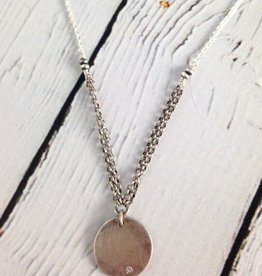 "Handmade Hammered sterling disc with flush set 2mm white cz on 18"" sterling chain necklace"