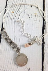 """Handmade Hammered sterling disc with flush set 2mm white cz on 18"""" sterling chain necklace"""