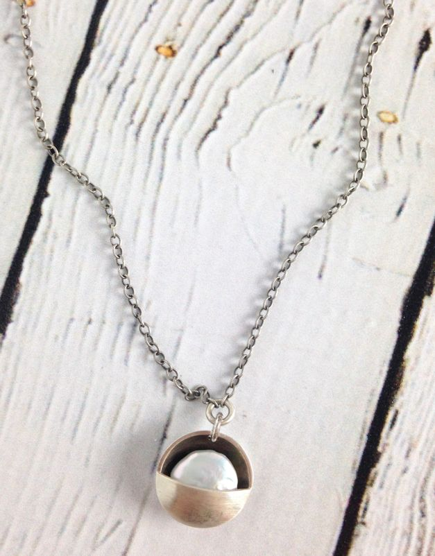 Handmade Sterling Silver and Pearl Cupped Moon Pendant on Pearl and Sterling Necklace