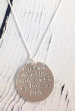 Handstamped One Word Mom Necklace