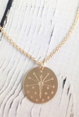 Handstamped Gold Filled Torch and Stars Necklace