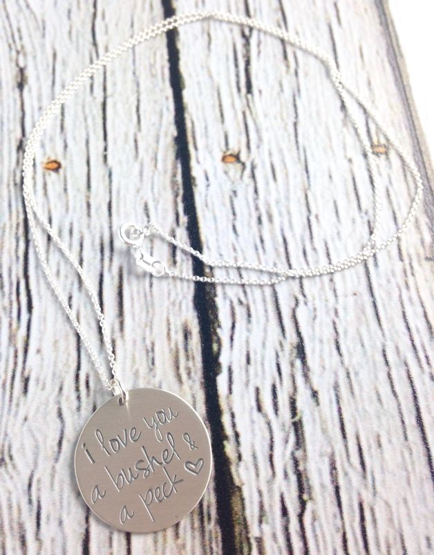 Handstamped Bushel and a Peck Necklace