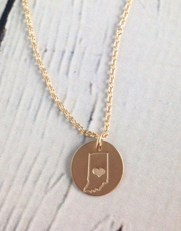 Handstamped Gold Filled Indiana Striped Heart