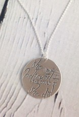 Handstamped She Believed She Could So She Did Necklace