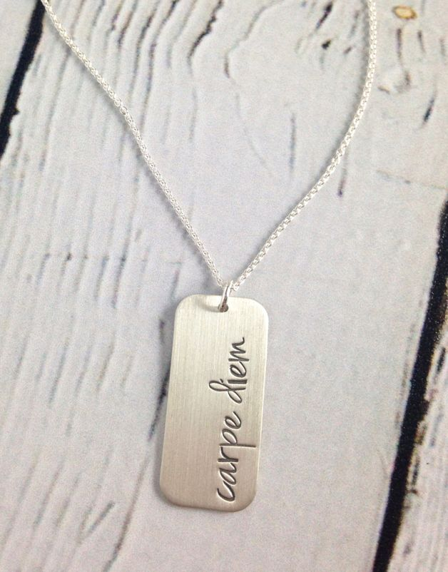 Handstamped Carpe Diem Necklace