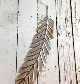 "10-1/4""H Metal Feather Ornament"