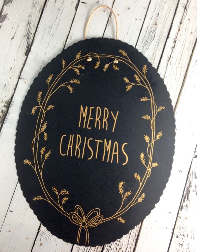 Black with Gold Handpainted Tin Merry Christmas Wall Decor