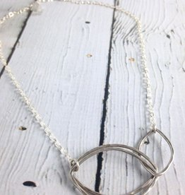 Handmade Hammered sterling open shape doubled link necklace