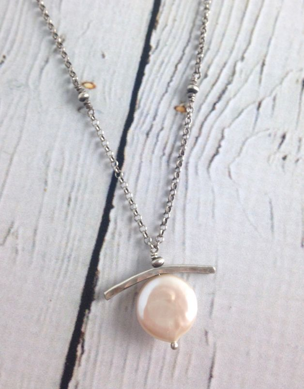Handmade Sterling Bar and White Coin Pearl Necklace