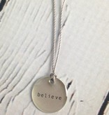 "Believe Mini Type Necklace on 16"" Cord"