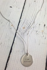 """I Am Enough Tiny Type Necklace on 16"""" Cord"""