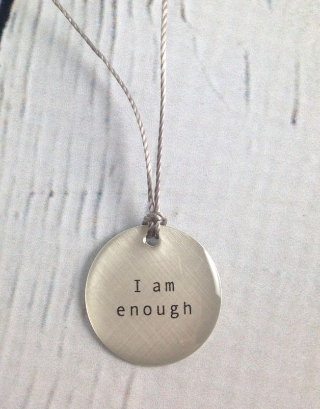 "I Am Enough Tiny Type Necklace on 16"" Cord"