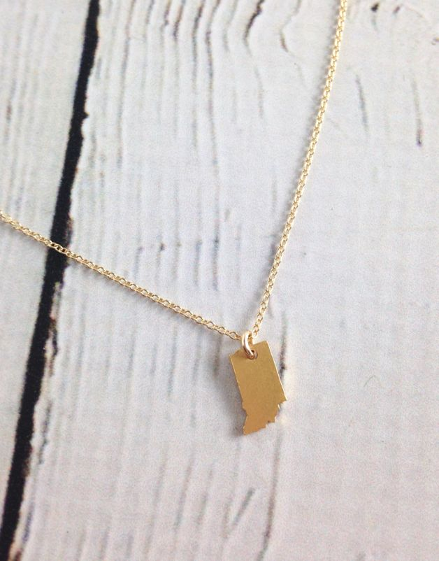 Tiny Indiana State Charm Necklace, Gold-Dipped