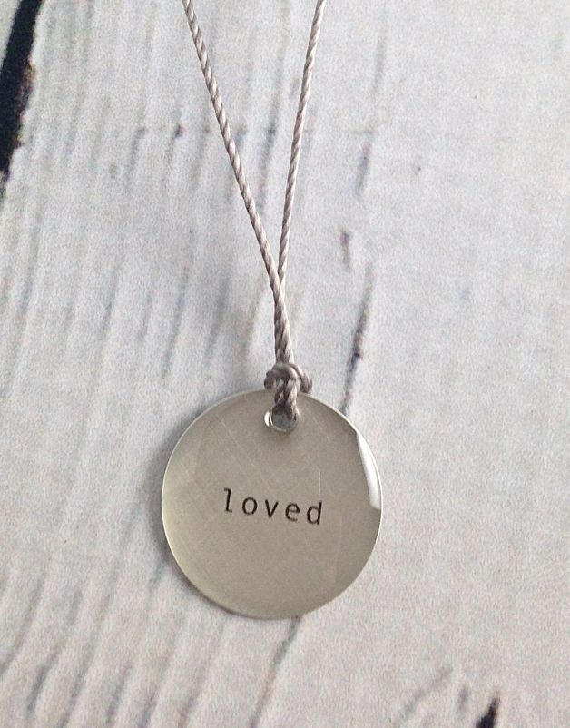 """Loved Mini Type Necklace on 16"""" Cord"""