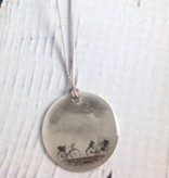 """Sterling Litho """"Bicycles"""" Necklace"""
