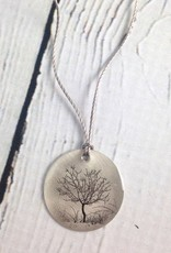 "Sterling Litho ""Fruit Tree"" Necklace"
