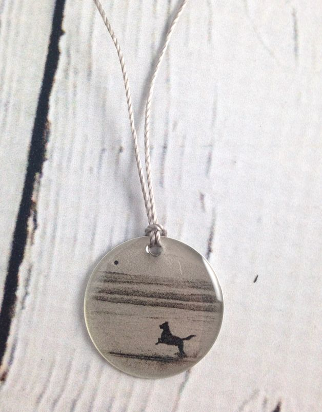 "Sterling Litho ""Fetch"" Necklace"