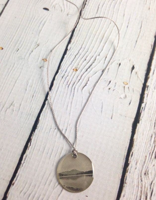 "Sterling Litho ""Small Mountain Lake"" Necklace"