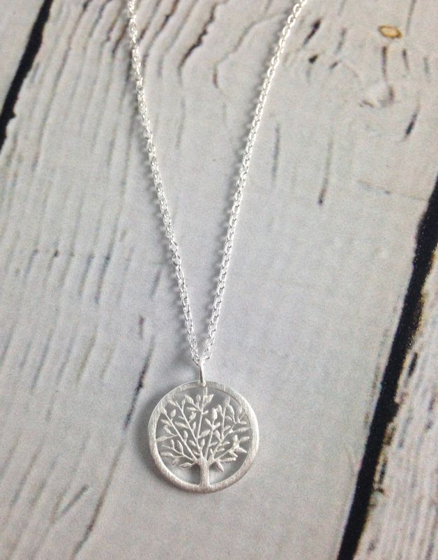 Tree in Circle Necklace, Sterling Silver