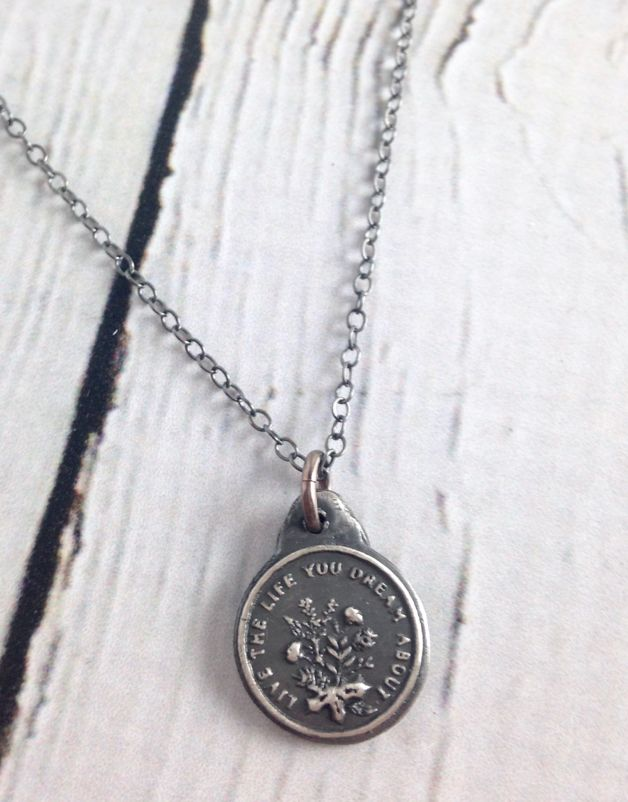 Live the Life You Dream About Necklace made of Recycled Sterling Silver
