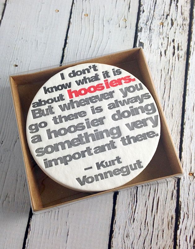 Set of 12 Hoosier Letterpress Coasters with Black and Red Type