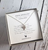 """Handmade Sterling Silver Necklace with Maya Angelou """"Caged Bird"""" Quote"""