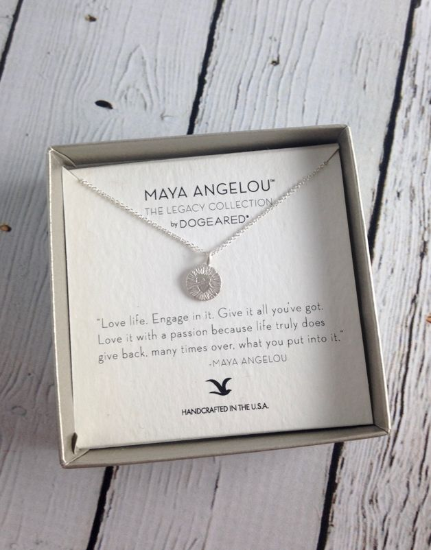 "Handmade Sterling Silver Necklace with Maya Angelou ""Love Life"" Quote"