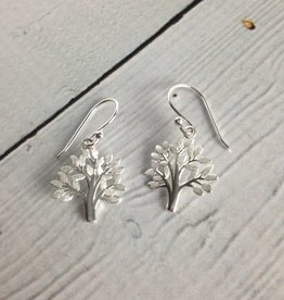 Brushed Sterling Silver Tree Earrings