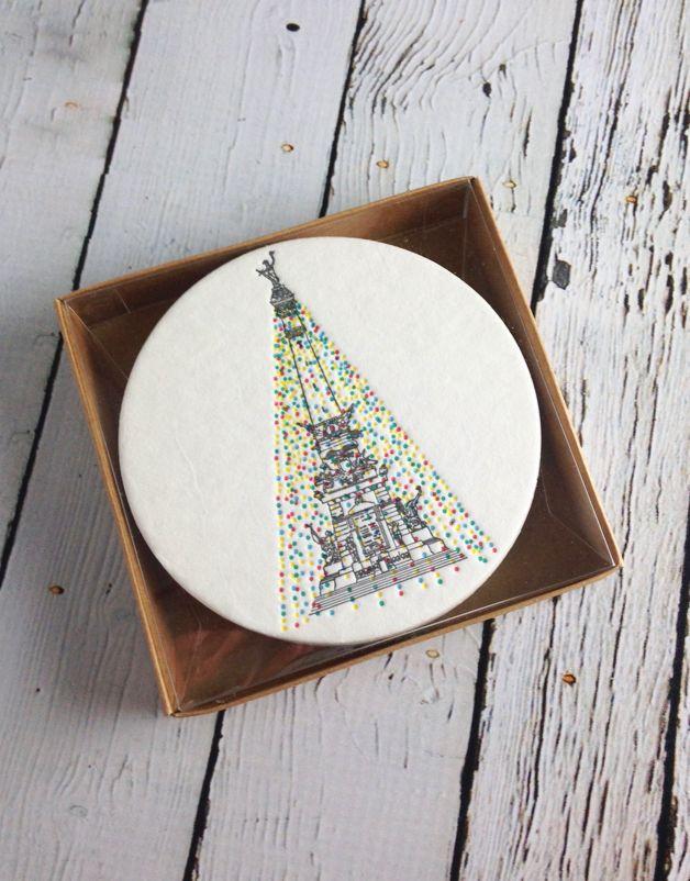 Holiday Monument Circle Coasters Set of 12