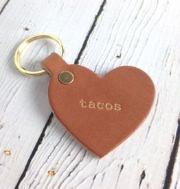 Gold Foil Tacos Heart Keychain