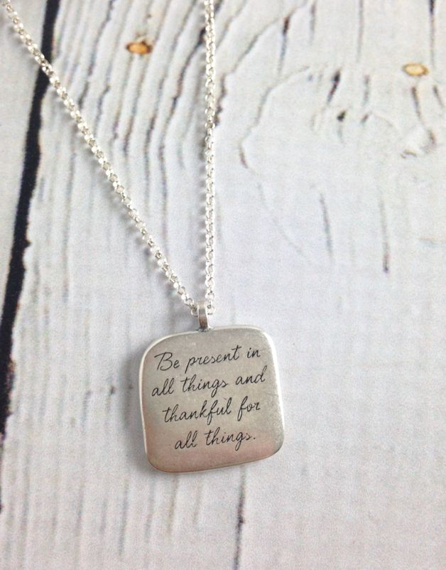 Jewelry silver in the city handmade sterling silver necklace with maya angelou be present quote aloadofball Gallery