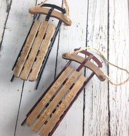 """7-1/2""""H Wood Sled Ornament"""