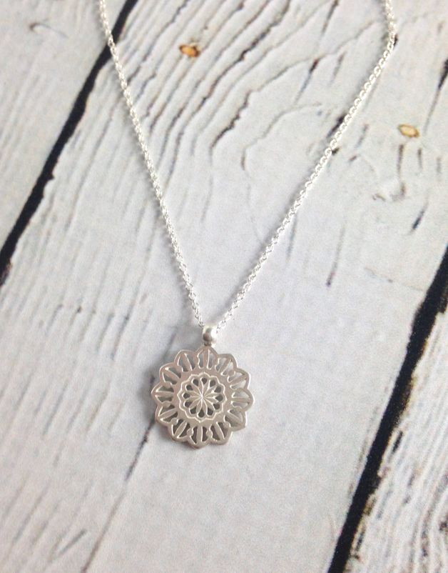 Handmade Sterling Silver Gratitude Medallion Necklace (Maya Angelou series)