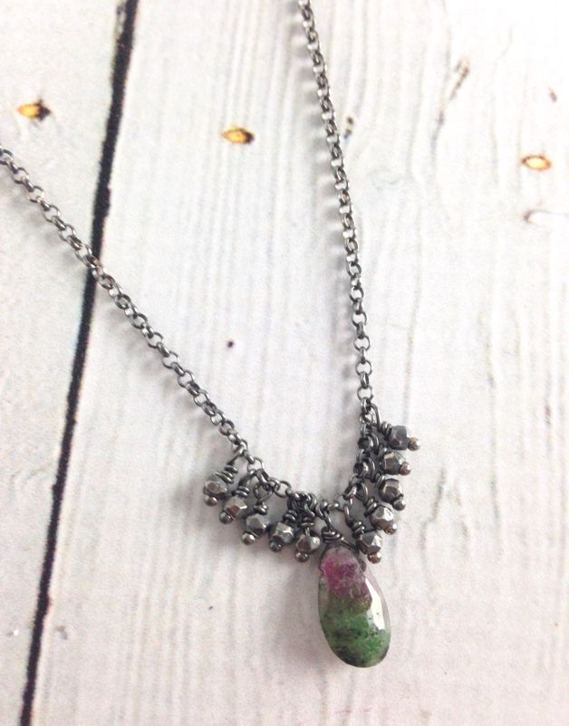 Handmade Silver Necklace with ruby zoisite brio, oxidized faceted silver