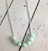 Handmade Silver Necklace with 7 amazonite onions, tiny shiny faceted silver knotted on blue silk