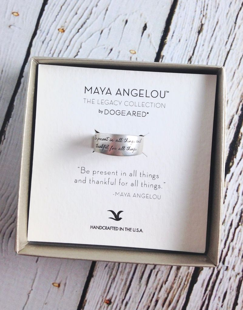 "Silver  Maya Angelou ""Be Present"" Ring"