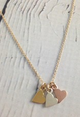 """Sterling Silver """"Yesterday, Today, Forever"""" 3 Mixed Metals Hearts Necklace"""