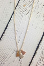 Sterling Silver Yesterday, Today, Forever 3 Mixed Metals Hearts Necklace