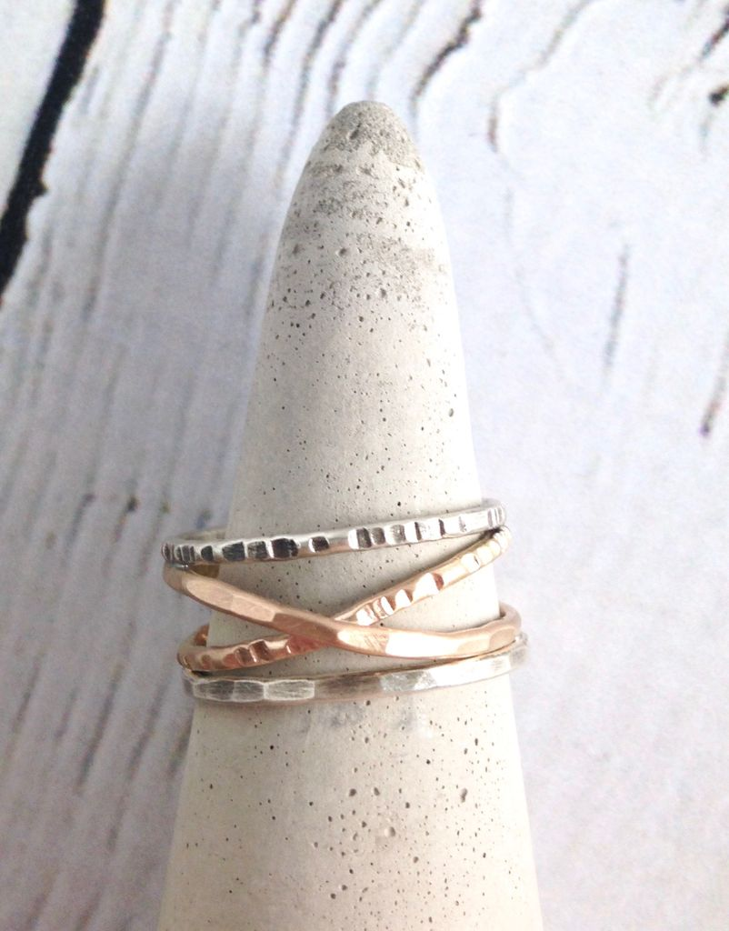 Etched and Hammered 14kt Goldfill Bands with Sterling Silver Outer Ring, Size 9